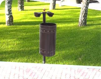 Cos de gunoi metalic cu scrumiera din fonta